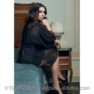 5836 Anastaia Chiffon and Lace Satin Belt Black Sexy Dressing Gown