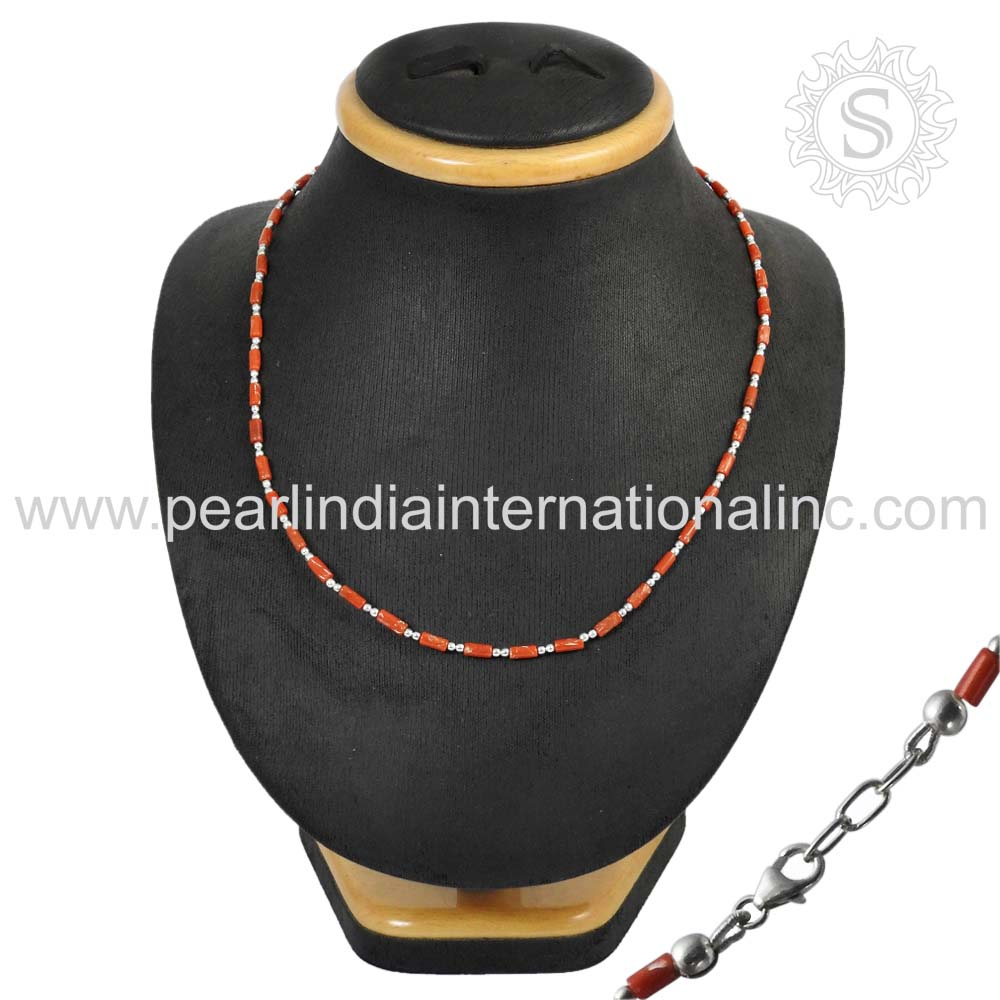 Glowing Red Coral 925 Silver Natural Stone Necklace Handmade Silver Jewelry Wholesaler