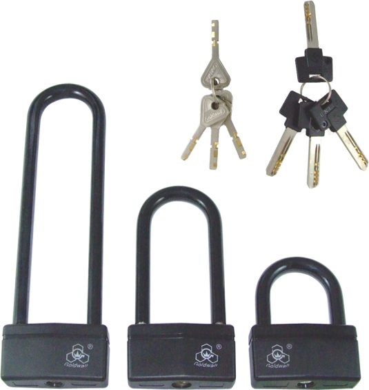 Glass door lock, PVC coated zinc body. bike lock.