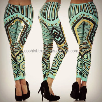 tribal mint aztec robot leggings Ci-75 , Active Wear, Gym Wear, Yoga Wear, Fitness Wear, Compression Wear, Cosh International