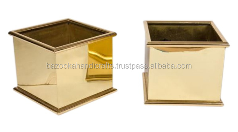 Shiny Polished Decorative Planter, Indoor Decorative Pots Planter, Brass Planter