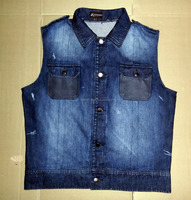 Men's denim jacket /Sleeveless Vest/ Waistcoat Jacket fastener Denim Jeans