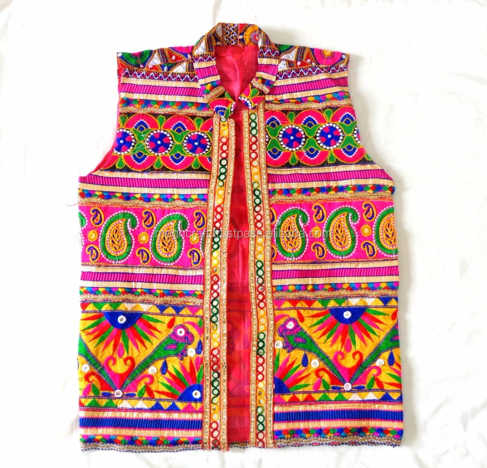 Wholesale Boho Gypsy Banjara Traditional Kutch Embroidery Cotton Jacket-Indian Ethnic Vest for man -Navratri wear man Jacket