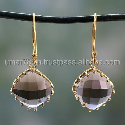 Artisan Gold plated Smoky Quartz Silver Earring