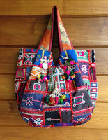 Vintage Indian Banjara Tribal Fabric Tote Bag Ethnic Kutchi mirrors handmade.