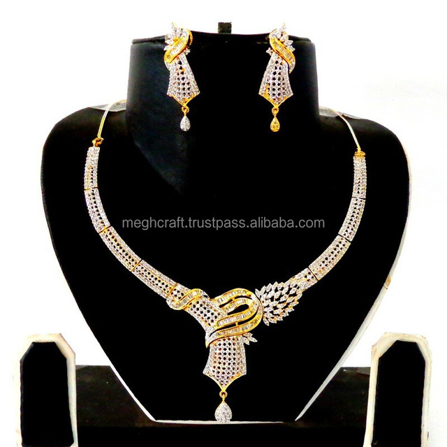 Party wear CZ neckalce set-Wholesale American Diamond Fashion Jewellery-Bollywood style CZ jewelry
