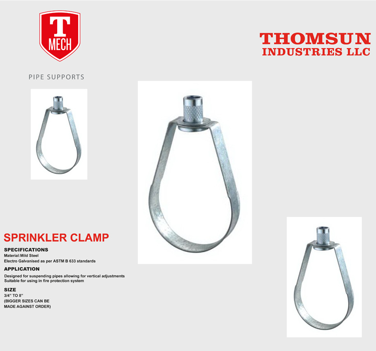steel without rubber galvanized sprinkler hanger pipe clamps