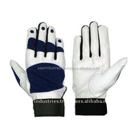 Soft Black and white Leather Custom Baseball Batting Gloves