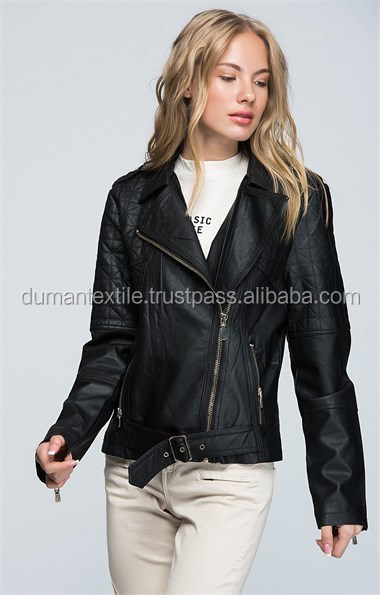 High Turk Quality Fabric Material Jacket Fashion Moda Leather Pu Black Coat Jacket Outwear Sexy Wholesale Worldwide