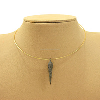 14kt Yellow Gold Choker Necklace with Pave Diamond Pyramid Spike Jewelry Components