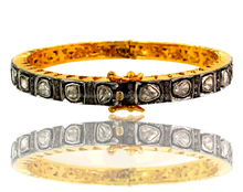 14k Gold Antique Sterling Silver Indian Rose Cut Diamond Wedding Bangle Bracelet