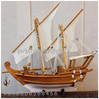 Kerala Wooden Boat Miniature Handicraft Showpiece Gift (Size 8- 18 inch) Soft wood ( Tak and Rose wood finish) (D8-9)