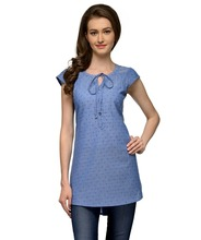Women Ethnic Wear - Ladies Printed High Low Hem Casual Kurti - Round neck, Cap Sleeves - 100% Cotton Fabric - OEM Wholesale