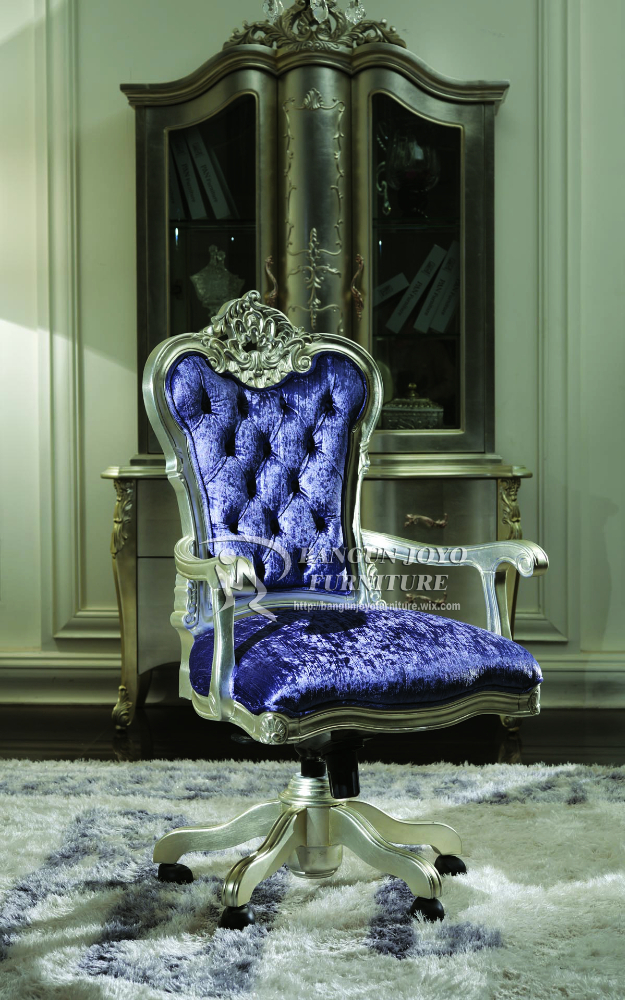 Luxury French Style Genuine Blueleather Office Chairnew Design
