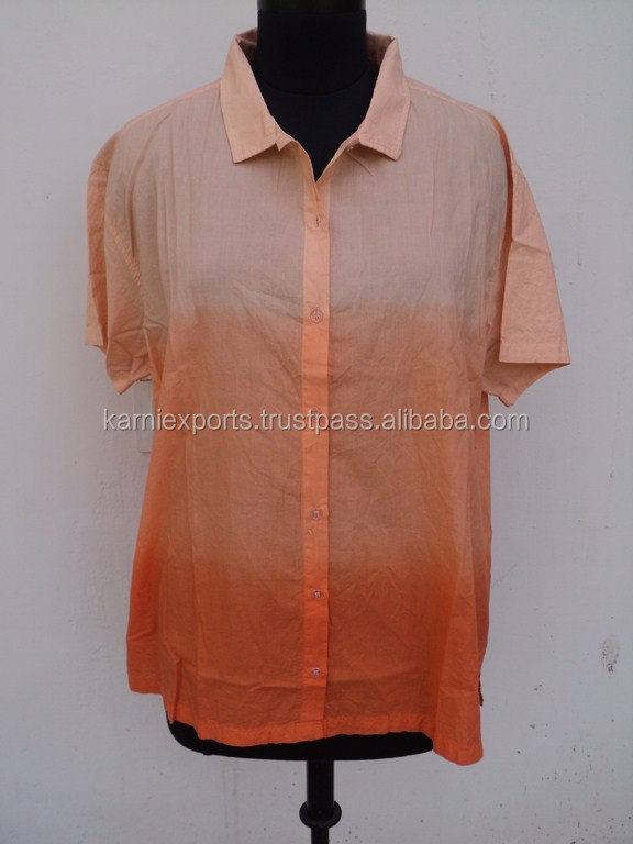 Plain dyed cotton orange color women top's blouses / Formal office wear tunic blouses dress