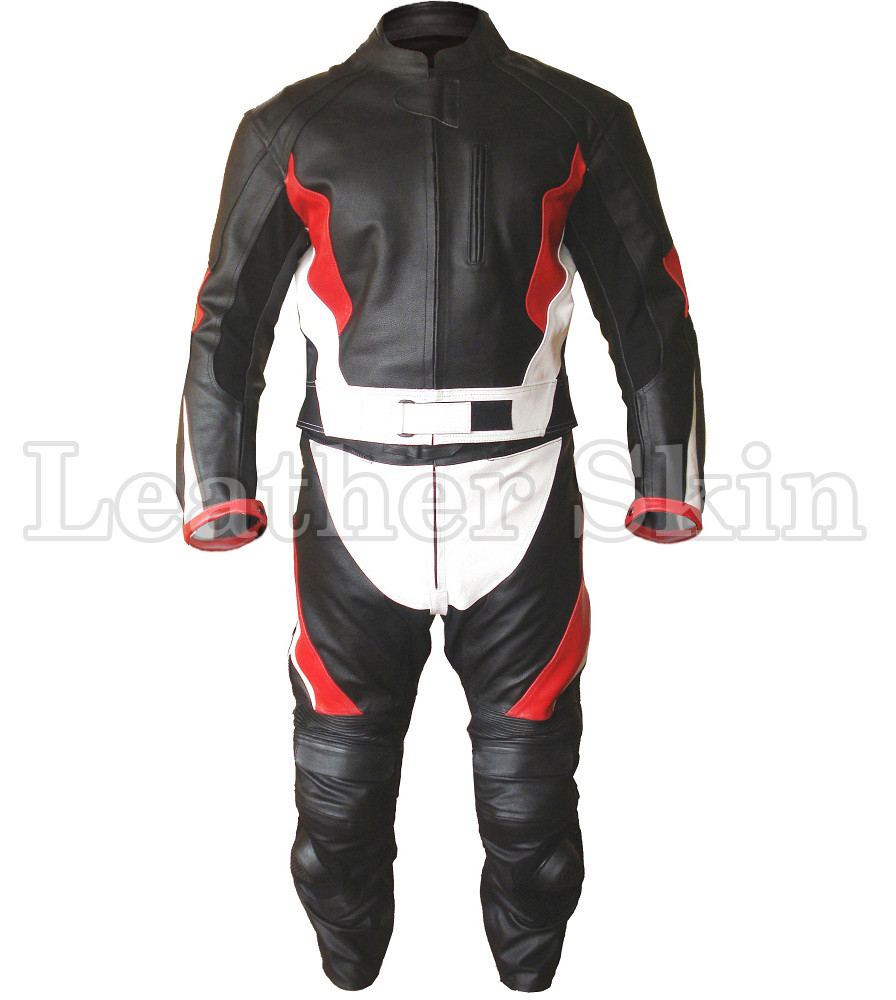 Men Stylish Black Biker Motorcycle Jacket Trouser Suit with Red Stripes - 100% Genuine Leather