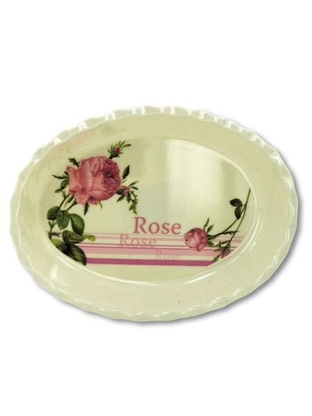 Melamine tray with rose design