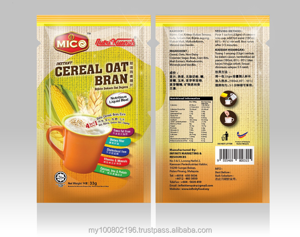 Cereal Oats Bran Instant Beverage