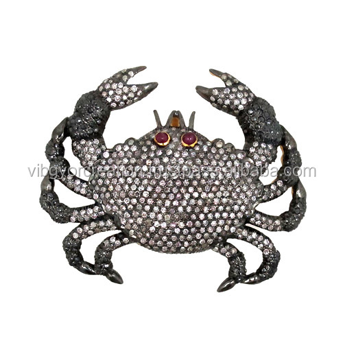 High quality gemstone ruby brooch pins scorpion king finding jewelry wholesale 14k gold 925 silver connector pave diamond brooch