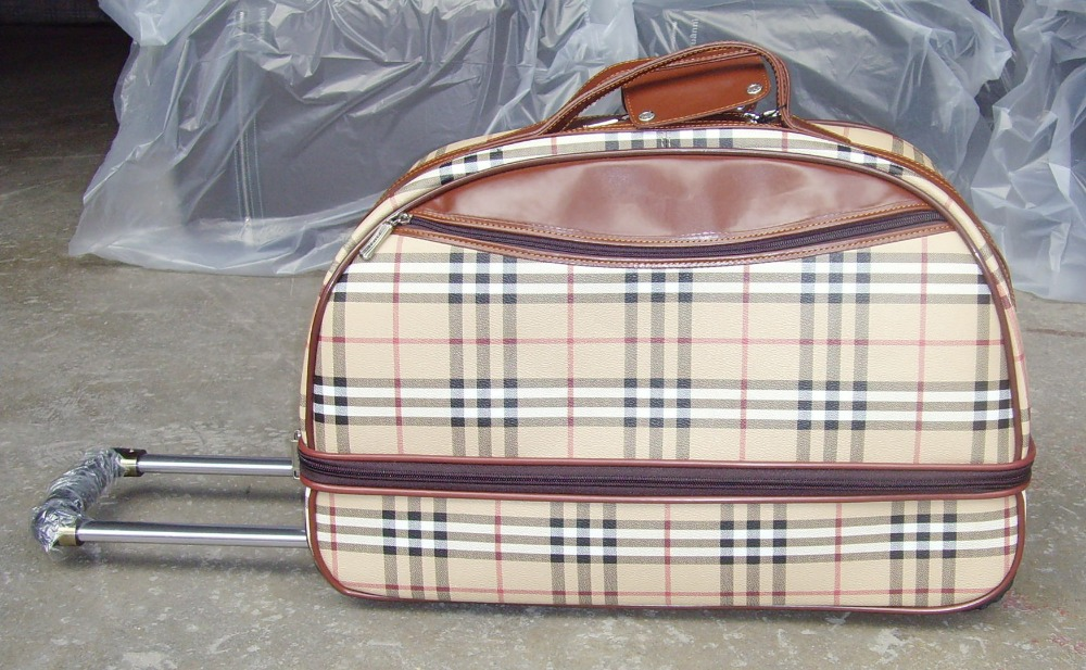 China Manufacturer Leather Trolley Travel Bag