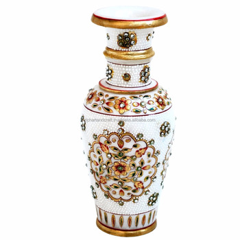 Rich Arts And Crafts Jaipur Rajasthan Stone Marble Vase Flower Pot