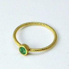 Heavenly Oval Shape Emerald Gold Polish 925 Sterling Silver Ring, Silver Jewelry, Precious Stone Silver Jewelry