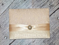 Luxury Gold Brocade Bi-fold Wedding invitation Folio Wholesale With Rhinestone Brooch