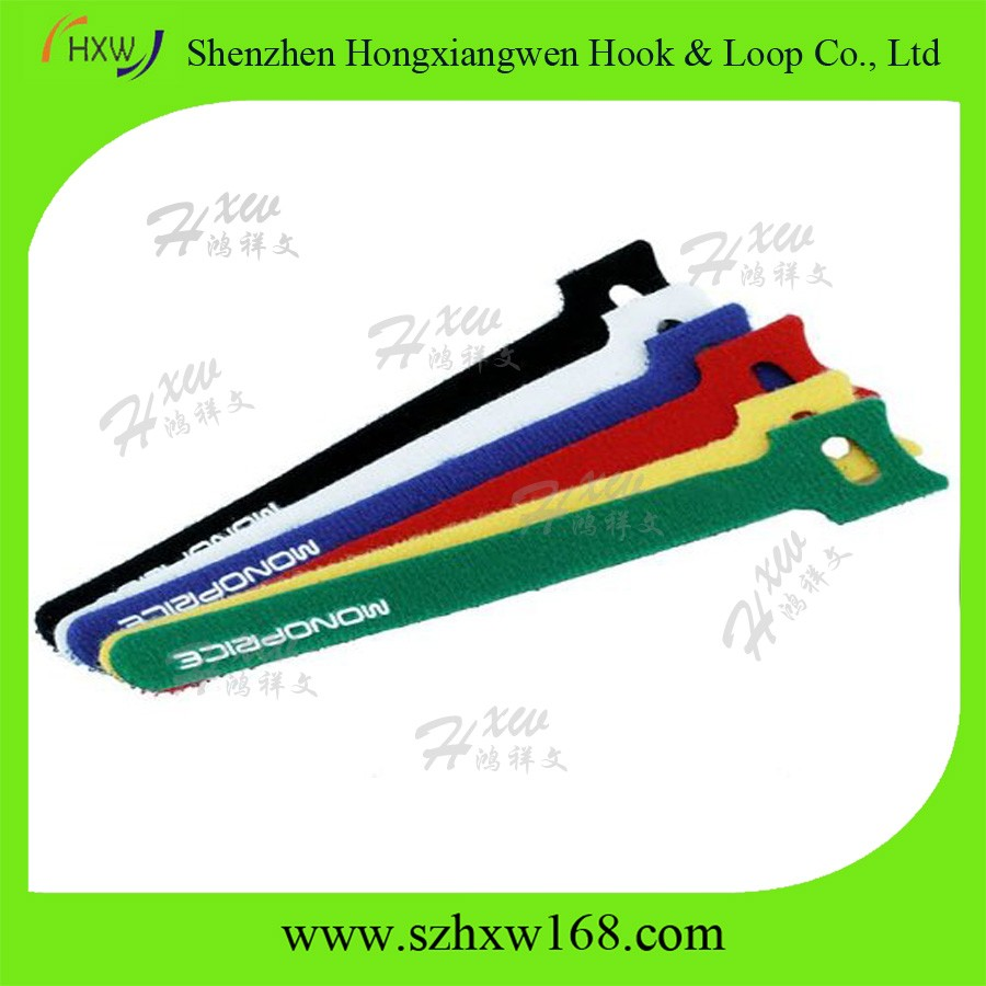 Custom adjustable back to back hook and loop cable ties