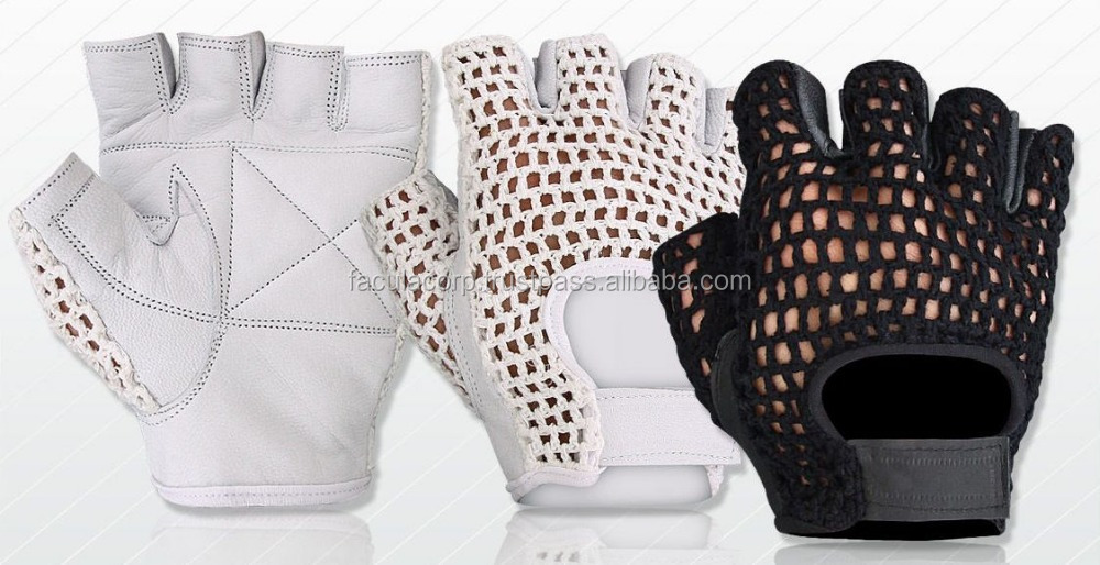 MESH LEATHER WEIGHT LIFTING PADDED GLOVES FITNESS CYCLING GYM SPORTS WHEEL CHAIR FC-15809