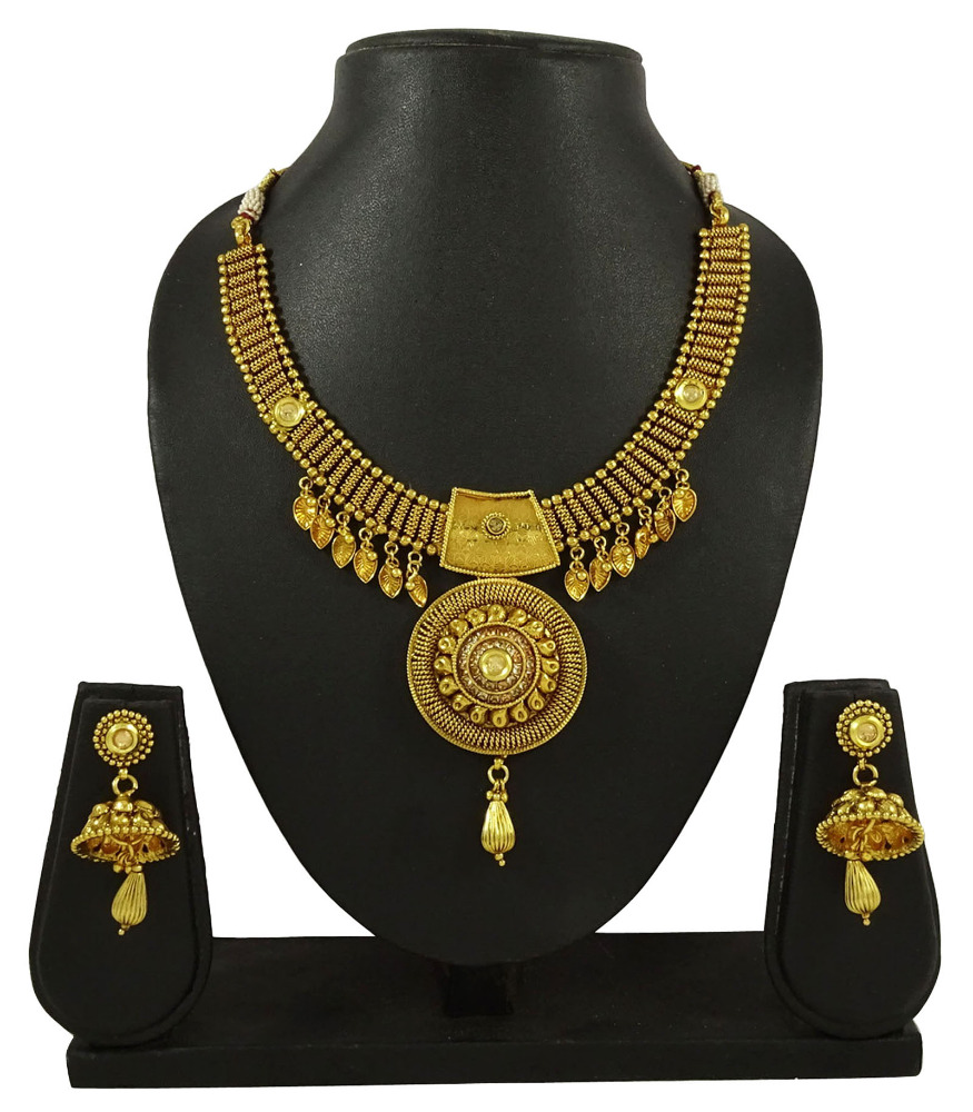 New Ethnic Indian Traditional 2 PC Goldtone Necklace Set Bridal Women Jewelry IMSM-BNS63A