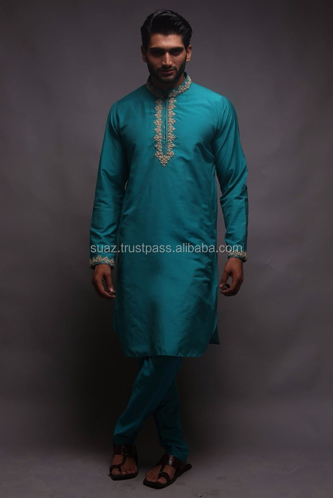 Embroidered men's kurta shalwar suit, cotton silk embroidered front kurta with matching