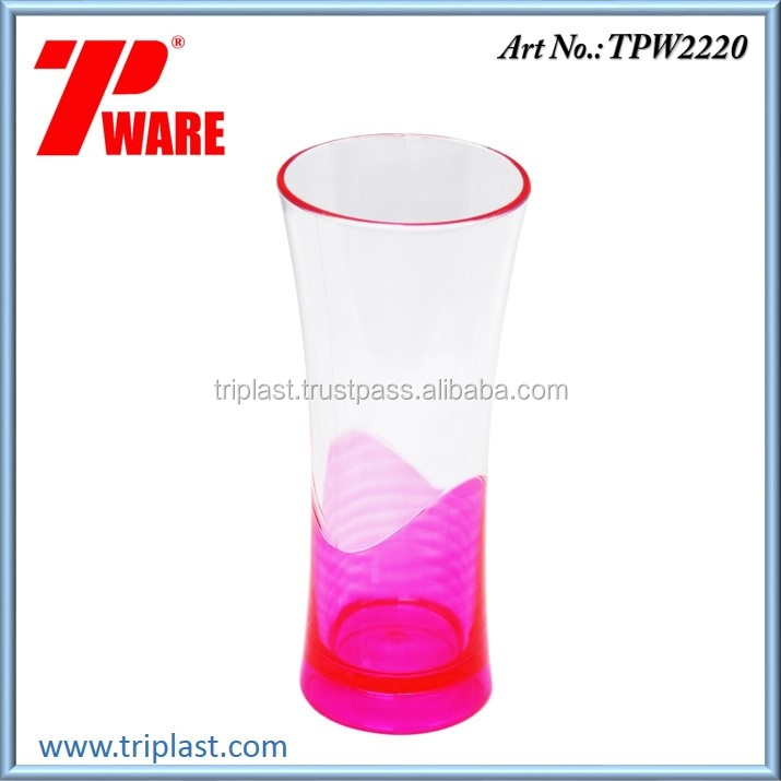 15 Oz Double Color Drinking Glass Cup Tumbler Pink color