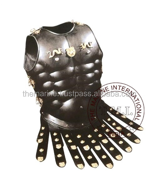 Black Antique Roman Muscle Armor Cuirass with Lion & Dragon Emblem ~ Collectible Medieval Larp Armour Replica Gift