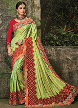Green silk online wholesale embroidery saree - Saree prices in south africa - Saree wholesale price in surat