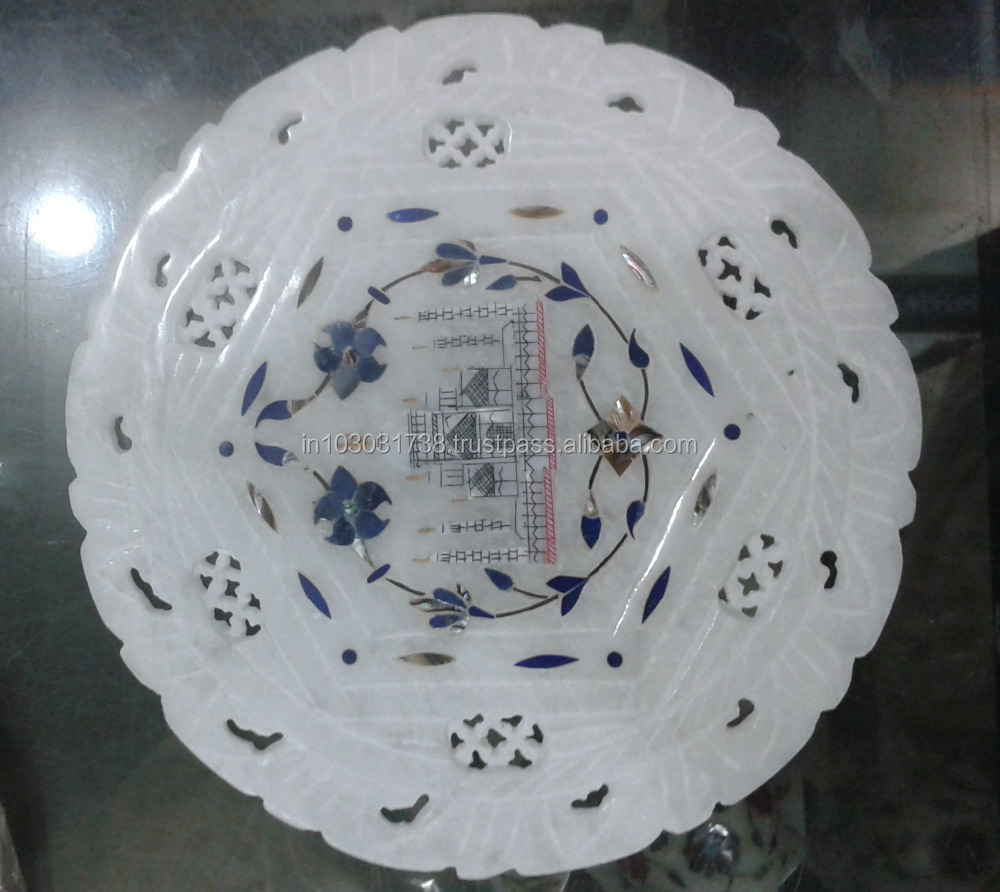 Coffee Jali Plate White Marble Antiq