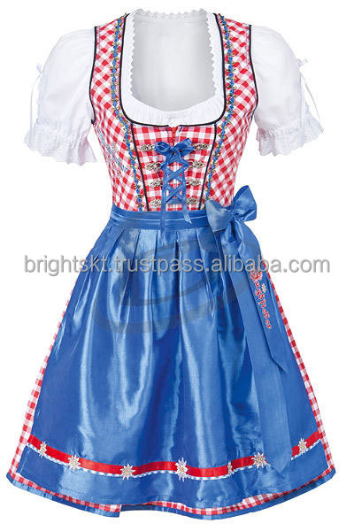 "Handmade""Blue Pink 100% Cotton Dirndl German Bavarian Dress"