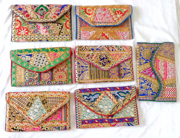 VINTAGE GIFT BAG - PATCHWORK CLUTCH PURSE - WEDDING FANCY HANDBAG PURSE -WHOLESALE BRIDAL MULTICOLOR BAG