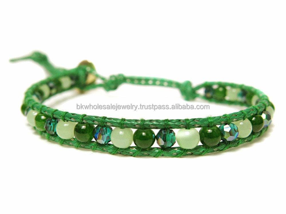 Made in Thailand Products Leather Bracelet Stone Bracelet Green Jade Aventurine Bead Bracelet Stone Jewelry