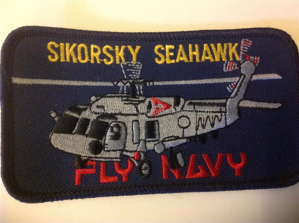 Machine embroidery badges ROYAL NAVY SIKORSKY SEAHAWK Helicopter patch FLY NAVY