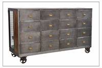 INDUSTRIAL IRON WOODEN DRAWER CHEST