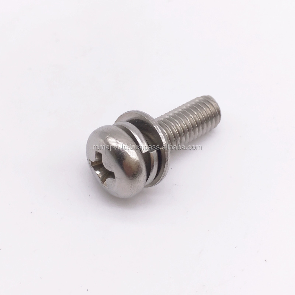 Stainless Steel Pan Head screw with two washer,sems screw,india manufecturer