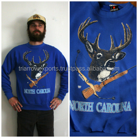 1980s North Carolina Crewneck Sweatshirt. Retro Hipster Blue Hunting Sweatshirt. Blue Deer And Gun Hunter Rocker Sweatshirt.