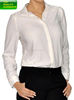 Women Girl Ladies Quality Blouse Top Long Sleeve Formal Office Charm See Through Shirt White Apperal OEM Customize #8216216