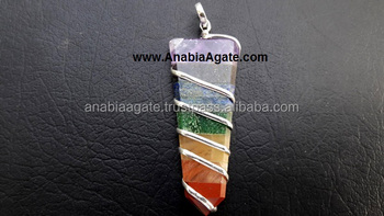chakra flat stick pendant : wholesale wire wrapped pendant