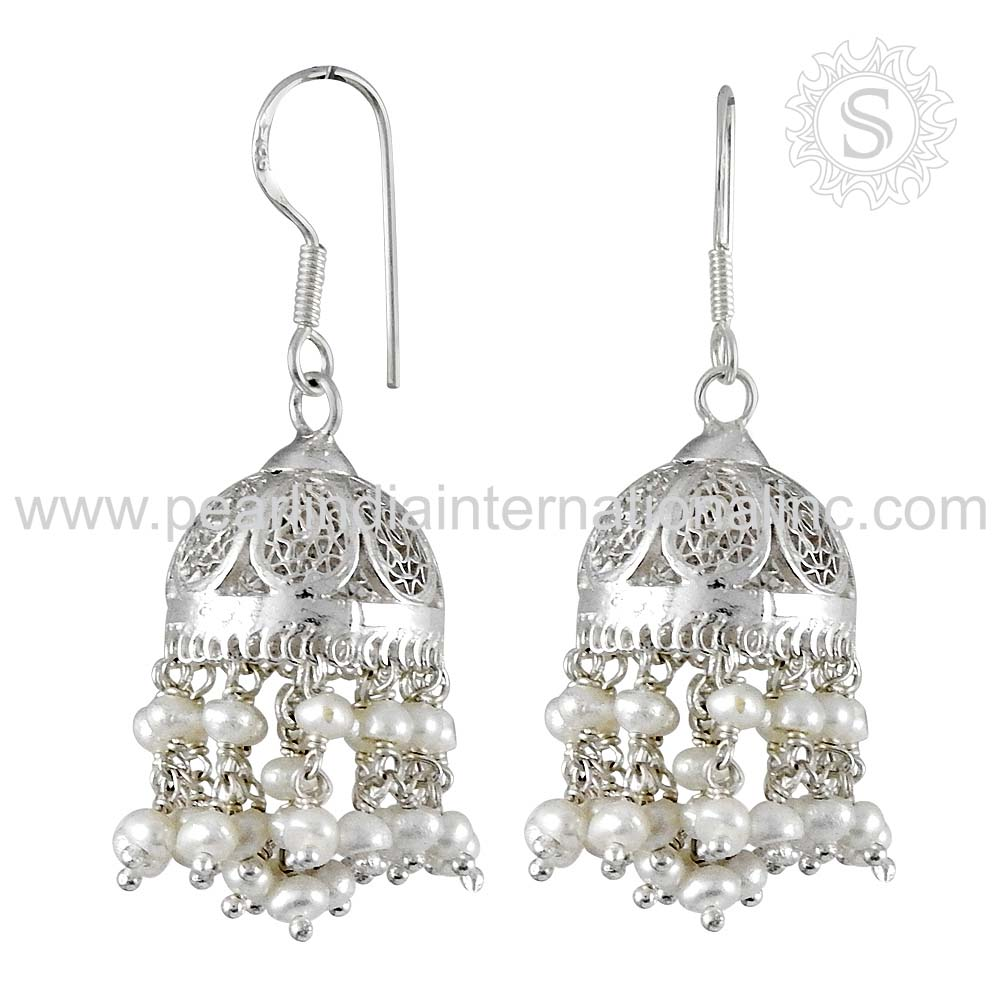 famous Pearl Natural Gemstone Earring Sterling Silver Jewelry Supplier Indian Silver Jewelry