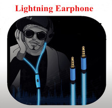 China cheap promotional fancy luminous led light EL long wire headphones in ear earphone with mic for iphone 6/6s/6 plus/6s plus