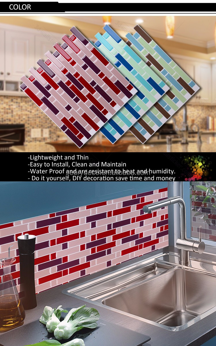 High gloss 3d look adhesive vinyl mosaic tile for kitchen remodel