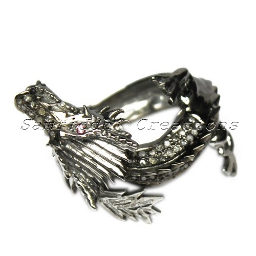 Dragon Shape 925 Sterling Silver Black Pave Diamond Cocktail Ring, Wholesale Jewelry, Silver Jewelry