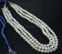 Natural Smooth rainbow moonstone Round Beads 3 strands necklace