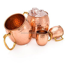 Copper Mug With Brass Handle And With Small Mugs